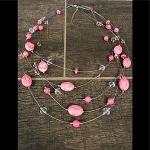 Pink stone floating necklace